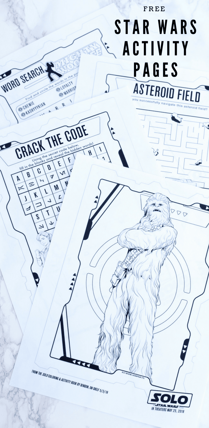 Solo Star Wars movie activity pages will keep the kids (and you!) busy for hours. These fun pages are great for boredom busting and car traveling!