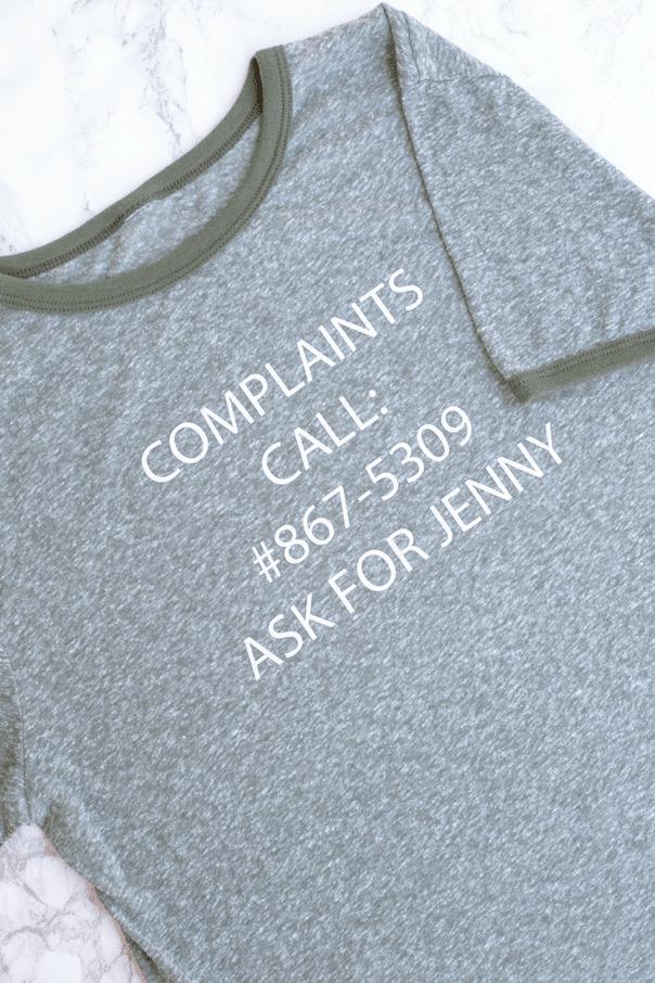 8675309 T-shirt up close