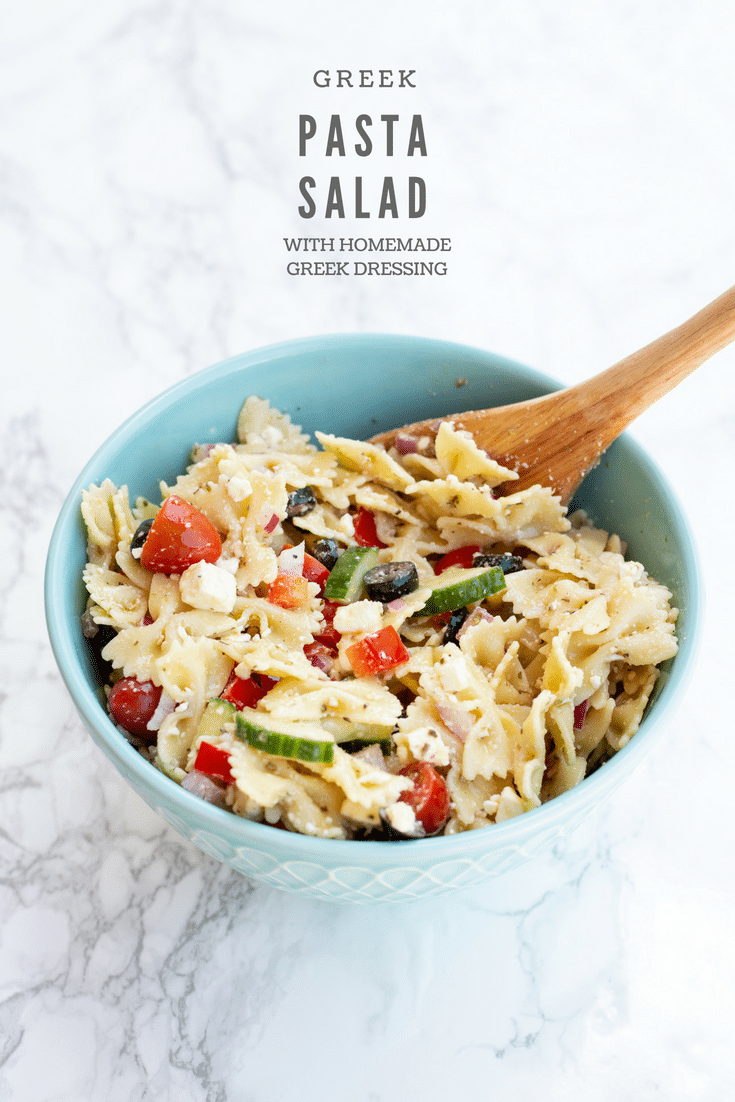 This Greek pasta salad with homemade Greek dressing is loaded with tomatoes, cucumbers, feta cheese, and olives. It's perfect for all your spring and summer gatherings!