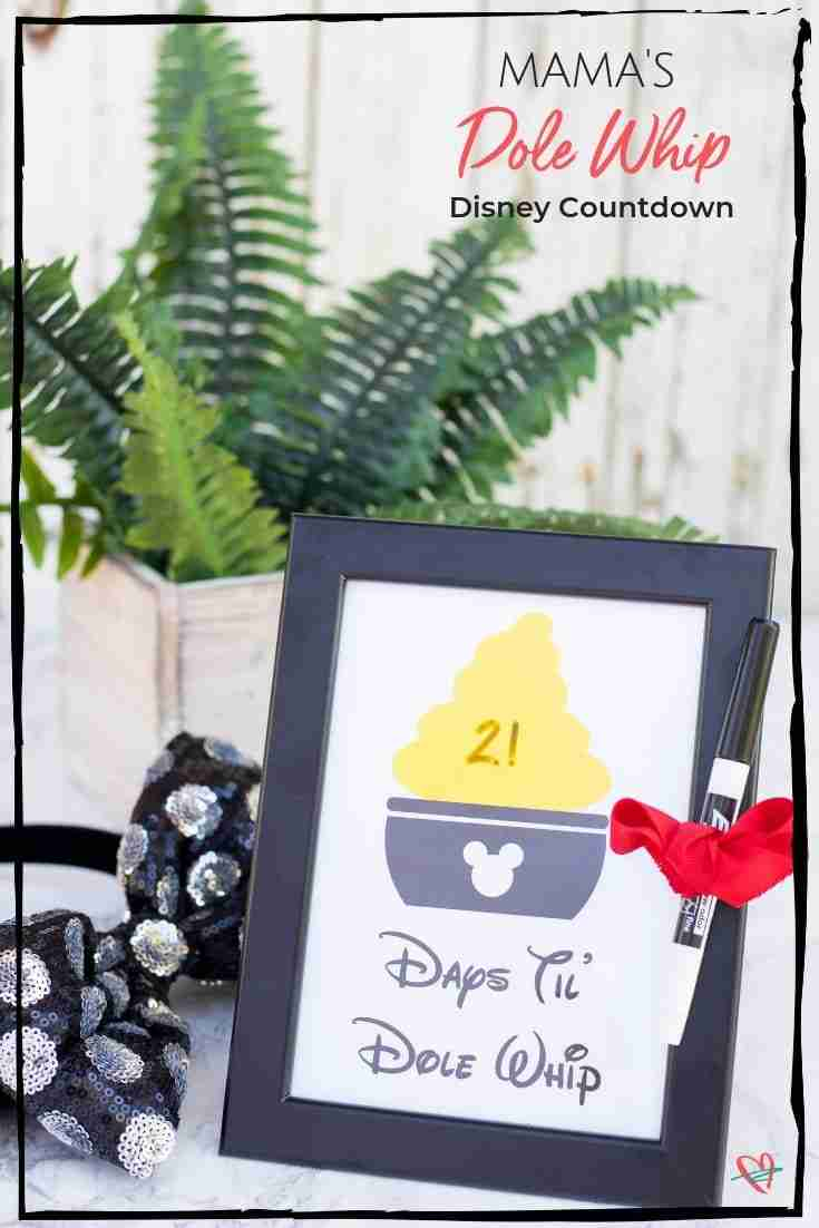 This days til' Disney countdown has the Dole Whip lover in mind! Adorable printable to count the days until the next bite of your favorite pineapple treat!