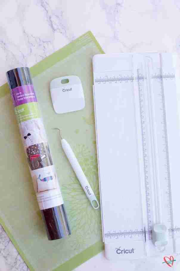 Cricut pencil case supplies- mat, trimmer, weeder and scraper