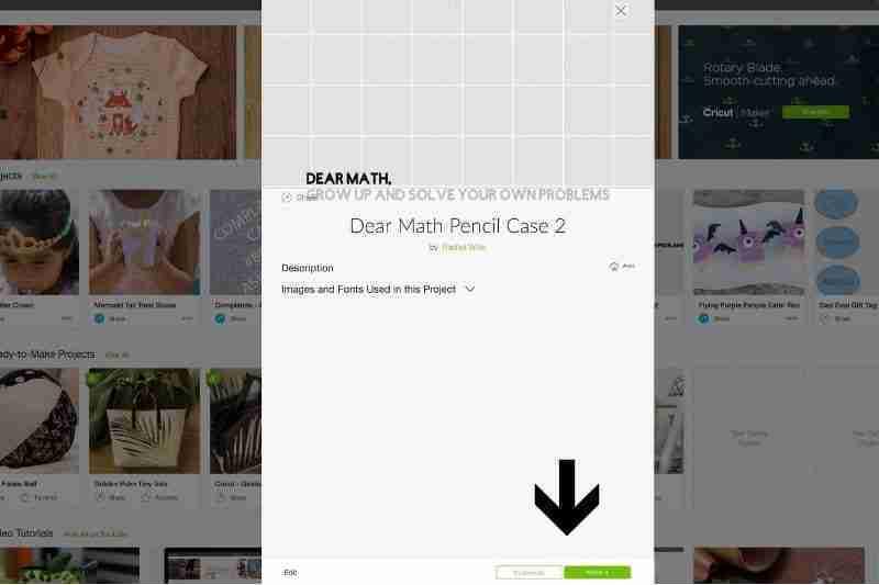 Screen shot of pencil case project in Cricut Design Space