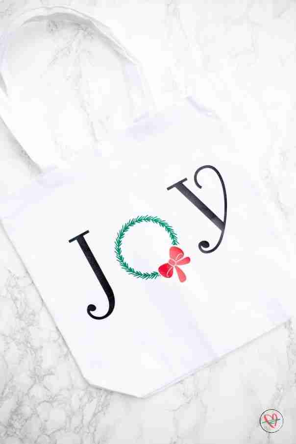 Finished joy tote on white marble counter