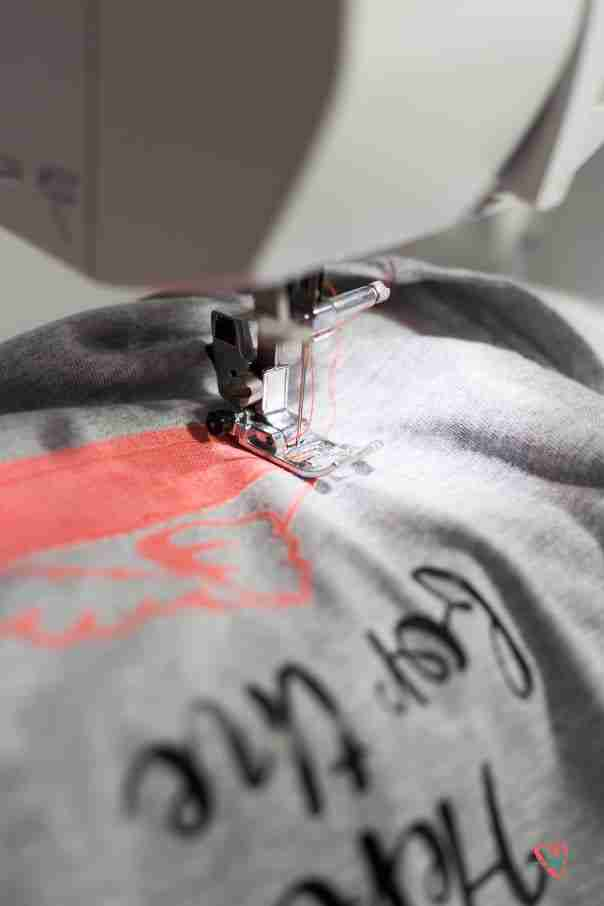 Sewing applique on Thanksgiving tee