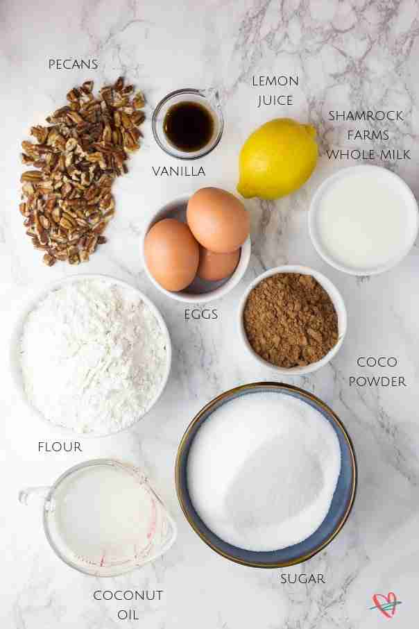 Flat lay of coconut fudge cake ingredients