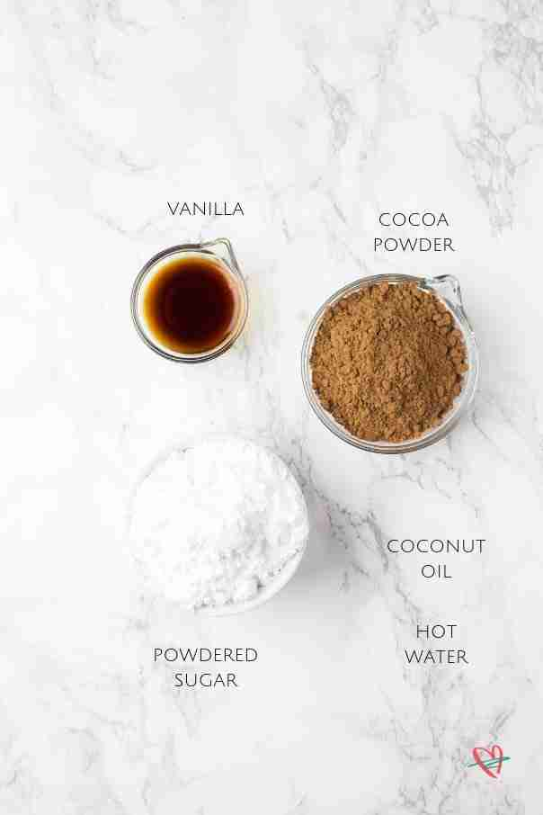 Flat lay of ingredients for coconut fudge cake glaze