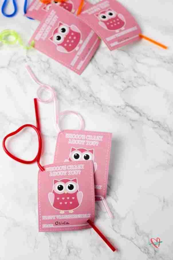 Kids' Valentine's Day cards with crazy straws