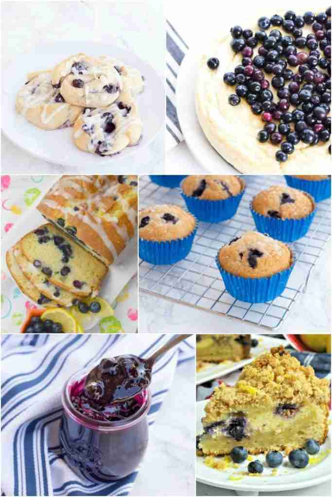 6 blueberry fruit recipes collage