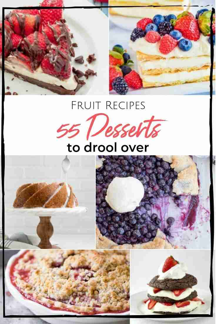 Love fruit? I'm sharing over 50 fruit recipes that are perfect for spring. Blueberries, strawberries, peaches and more. Cheesecakes, donuts, and muffins! #fruitdesserts #desserts #strawberries