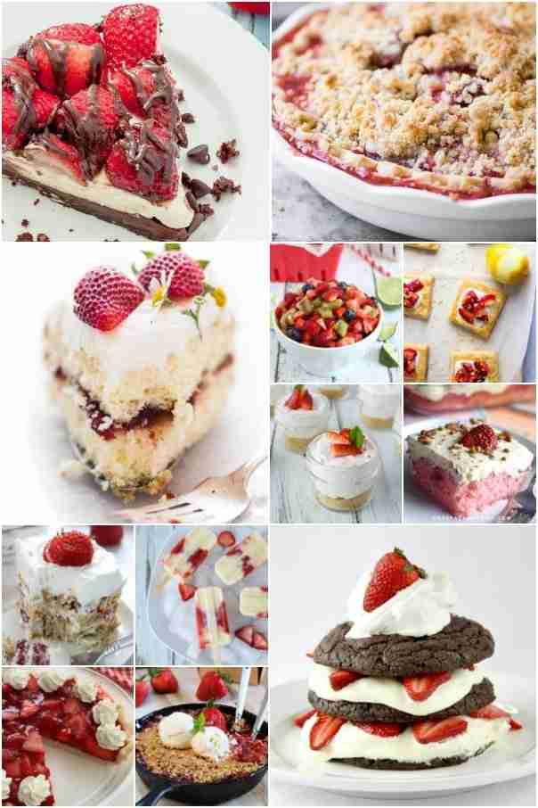Strawberry fruit recipes collage