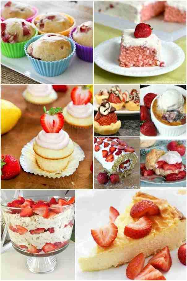 strawberry desserts collage