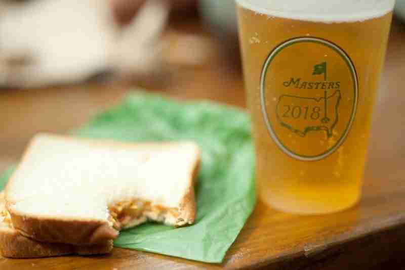 pimento cheese sandwich next to glass of beer