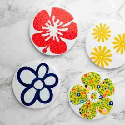 Cricut Infusible Ink Flower Coasters