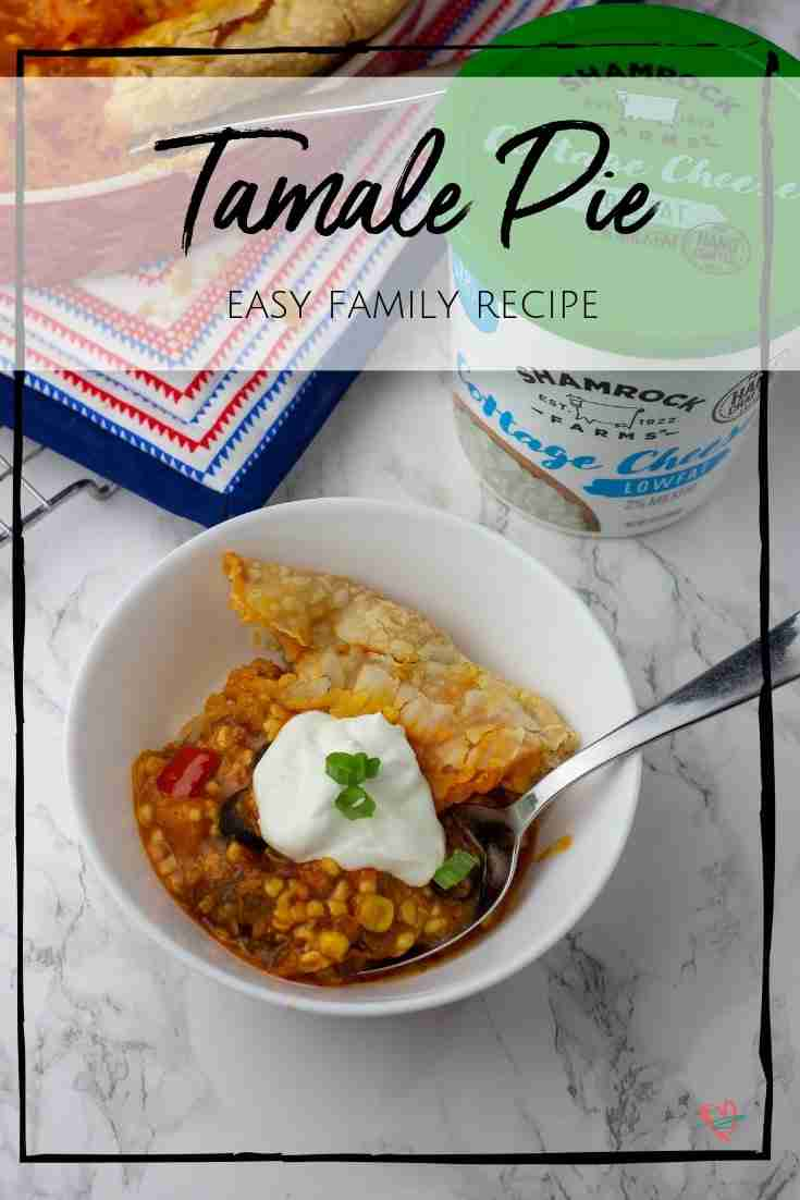 Made with cottage cheese, refrigerator pie crust, and other quick ingredients, you'll have a satisfying tamale pie on the table in just 30 minutes. #ShamrockFarms @ShamrockFarms Sponsored by Shamrock Farms