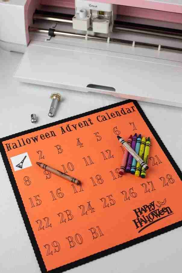 Easy Halloween coloring advent using the new Cricut Maker tools! The Perforation Tool lets them peel back the days and the Wavy Tool gives it a fun look! #cricutcreated #ad
