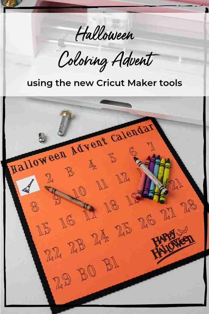 Easy Halloween coloring advent using the new Cricut Maker tools! The Perforation Tool lets them peel back the days and the Wavy Tool gives it a fun look! @OfficialCricut #cricutcreated #ad