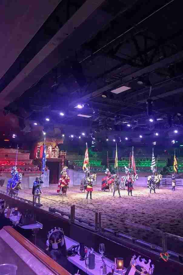 all six knights on horses at Medieval Times show