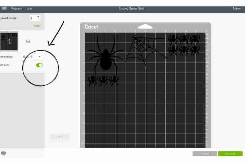 Screenshot of mirroring button in Cricut design space