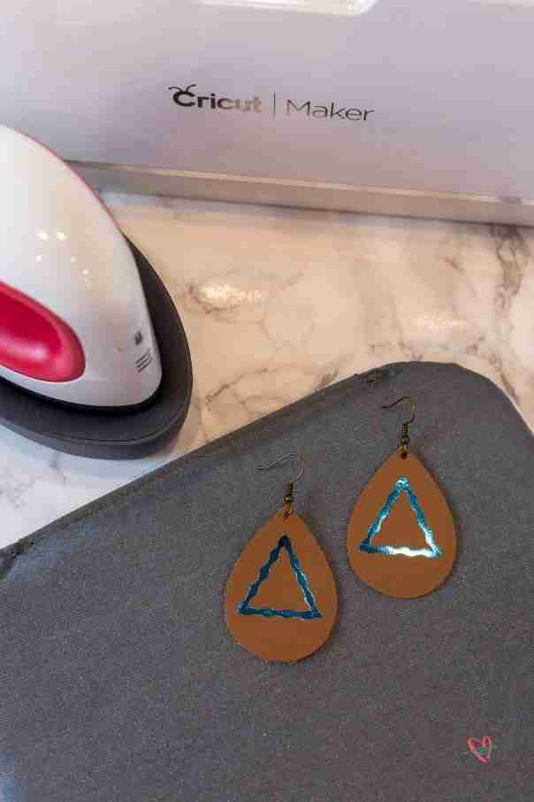 EasyPress Mini next to finished earrings