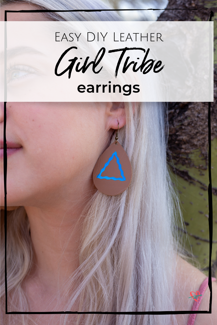 Easily make a personalized pair of DIY leather earrings perfect for besties, sisters and anyone else who's part of your girl tribe! @officialcricut #cricutcreated #ad
