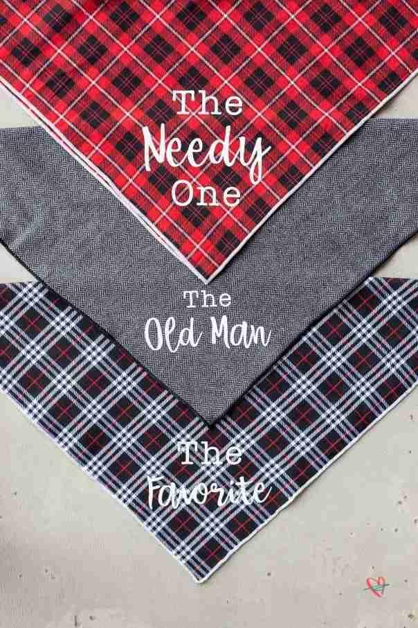 3 finished dog bandanas for personalized dog gift