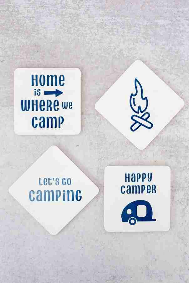 Camping themed coasters