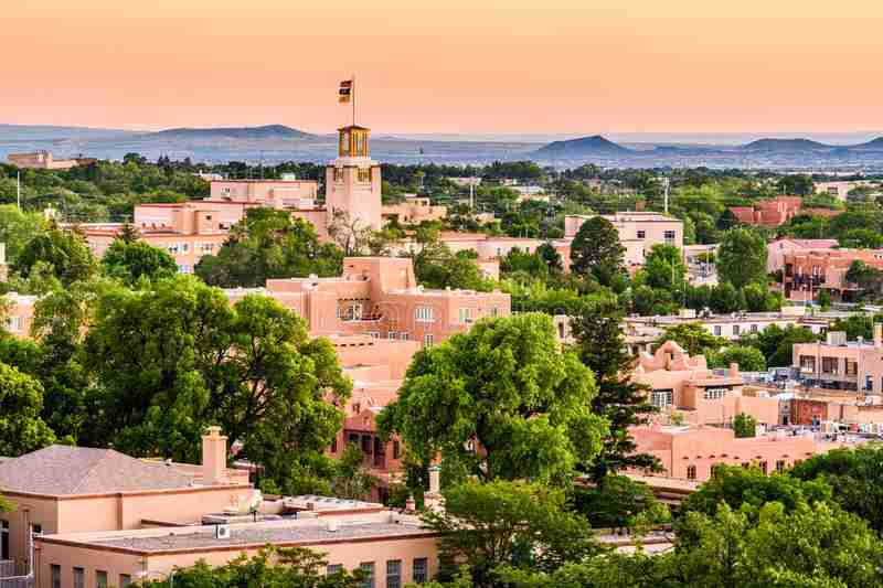 second home in the southwest, overview of downtown Santa Fe